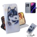 Pattern Printing Leather Wallet Case for iPhone (2019) 6.1-inch – Black and White Wolf