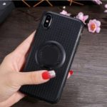 Finger Ring Kickstand TPU Back Case [Built-in Magnetic Metal Sheet] for iPhone X/XS 5.8 inch – Black