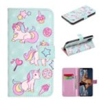 Light Spot Decor Patterned Leather Wallet Case for iPhone (2019) 6.1-inch – Unicorn and Stars