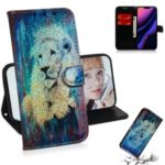 Pattern Printing Leather Wallet Stand Case for iPhone (2019) 5.8-inch – Lion