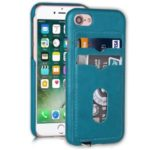 Leather Coated Hard PC Phone Case Cover with Card Holder Lanyard for iPhone 7/ 8 4.7 inch – Blue