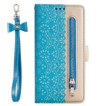 Lace Flower Pattern Zipper Pocket Leather Wallet Case for iPhone (2019) 6.5-inch – Blue