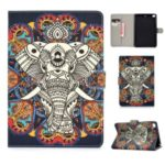 For iPad mini (2019) 7.9 inch/4/3/2/iPad Mini Universal Printing PU Leather Stand Wallet Case Shell – Elephant