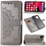 Embossed Mandala Flower Wallet Leather Stand Case for iPhone (2019) 6.5-inch – Grey