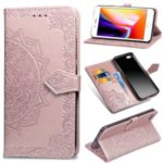 Embossed Mandala Flower Leather Wallet Case for iPhone 7/8 – Rose Gold