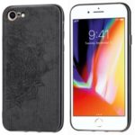 Imprint Mandala Flower Cloth Grain Leather Coated PC + TPU Hybrid Phone Shell for iPhone 7/8 4.7 inch – Black