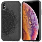 Imprint Mandala Flower PC + TPU + Fabric Phone Case Shell for iPhone XS Max 6.5 inch – Black