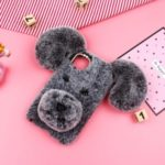 Lucky Dog Shape Fur Coated Soft TPU Back Case for iPhone (2019) 6.5-inch – Grey