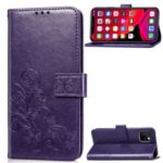 Imprint Clover Pattern Leather Stand Phone Wallet Case for iPhone (2019) 6.5-inch – Purple