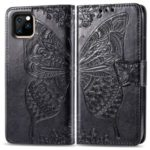 Imprint Butterfly Leather Wallet Case Phone Cover for Apple iPhone (2019) 5.8-inch – Black