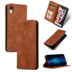Auto-absorbed Business Style PU Leather Stand Phone Case with Card Slots for iPhone XR 6.1 inch – Brown