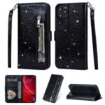 Flash Powder Zippered Stand Leather Wallet Cover with Strap for iPhone (2019) 6.1-inch – Black