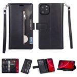 Zippered Leather Magnetic Stand Wallet TPU Accessory Shell with Strap for iPhone (2019) 5.8-inch – Black