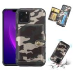SHOUHUSHEN Camouflage Leather Coated PC TPU Hybrid Card Holder Case for iPhone (2019) 6.5-inch – Army Green