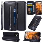 Card Holder Zippered Wallet Leather Phone Shell for iPhone (2019) 5.8-inch – Black