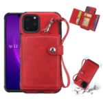 SHOUHUSHEN For iPhone 11 Pro Max 6.5 inch (2019) Multifunctional Card Slots PU Leather +PC + TPU Phone Cover – Red