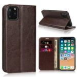 Crazy Horse Genuine Leather Case with Wallet Stand for iPhone 11 Pro Max 6.5 inch – Coffee