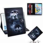 Printing PU Leather Tablet Cover Case for Samsung Samsung Galaxy Tab A 10.5 (2018) T590 T595 – Dog and Reflection in Water