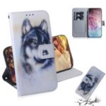 Pattern Printing Leather Wallet Stand Case for Samsung Galaxy Note 10 Pro – Black and White Wolf