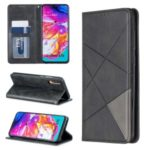 Geometric Pattern Leather Card Holder Case for Samsung Galaxy A70 – Black