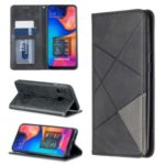 Geometric Pattern Leather Stand Case with Card Slots for Samsung Galaxy A20/A30 – Black