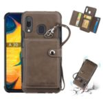 SHOUHUSHEN Card Holder PU Leather+PC+TPU Phone Casing for Samsung Galaxy A30 – Coffee