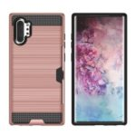 For Samsung Galaxy Note 10 Pro Card Holder Brushed PC + TPU Combo Phone Casing – Rose Gold