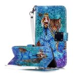 Glossy Pattern Printing Wallet Stand Flip Leather Case for Samsung Galaxy A70 – Tiger