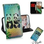 Pattern Printing Flip Leather Phone Shell for Samsung Galaxy Note 10 – Couple Pandas