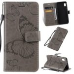 Imprint Butterflies Wallet Stand PU Leather Phone Cover with Strap for Samsung Galaxy A10e – Grey