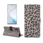 Leopard Skin Wallet Leather Phone Cover Case for Samsung Galaxy Note 10 – Brown