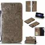 Lace Flower Imprinted Leather Wallet Shell for Samsung Galaxy Note 10 – Brown