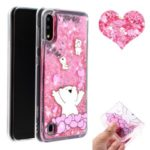Embossed Pattern Glitter Powder Quicksand TPU Phone Case for Samsung Galaxy A10/M10 – Bear and Heart