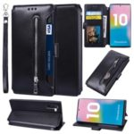 Card Holder Zippered Wallet Leather Phone Case for Samsung Galaxy Note 10 – Black