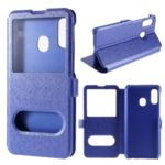 Silk Texture Dual Windows Leather Stand Case for Samsung Galaxy A20e – Blue