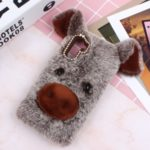 Rhinestone Decor Fluffy Fur Coated TPU Phone Case for Samsung Galaxy Note 10 – Coffee