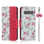 Flower Pattern Printing PU Leather + TPU Wallet Phone Case with Lanyard for Samsung Galaxy S10 Plus – Rose