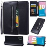 Card Holder Zippered Wallet Leather Phone Case for Samsung Galaxy Note 10 Plus/Note 10 Plus 5G – Black