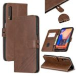 Leather Case Wallet Stand Phone Shell for Samsung Galaxy A7 (2018)/A750 – Coffee