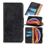 Crazy Horse Split Leather Flip Cover [Wallet Stand] for Samsung Galaxy A10s – Black