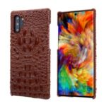 Alligator Skin Cowhide Leather Coated PC Cover for Samsung Galaxy Note 10 Plus / Note 10 Plus 5G – Brown