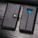 Magnetic Closure Wallet Lanyard Leather Phone Case with Stand for LG Q60 – Black