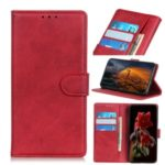 Matte Skin Wallet Leather Stand Case for LG W30 – Red