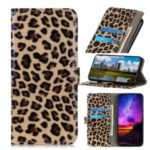 Glossy Leopard Texture Back Cover Wallet Leather Stand Phone Case for LG W30