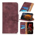 Vintage Style PU Leather Wallet Casing for Huawei nova 5i Pro/Mate 30 Lite – Wine Red