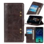Rivet Decorated Leather Wallet Case for Huawei Mate 30 Lite / nova 5i Pro – Brown