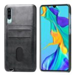 PU Leather Coated Hard PC Case with Card Slots for Huawei P30 – Black