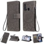 Imprint Sunflower Leather Wallet Stand Case for Huawei P20 lite (2019) / nova 5i – Grey