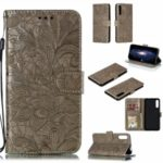 Lace Flower Imprinted Leather Wallet Casing for Huawei Honor 9X / 9X Pro – Brown