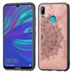 Imprint Mandala Flower Pattern Leather Coated PC + TPU Hybrid Case for Huawei Y7 (2019) – Pink